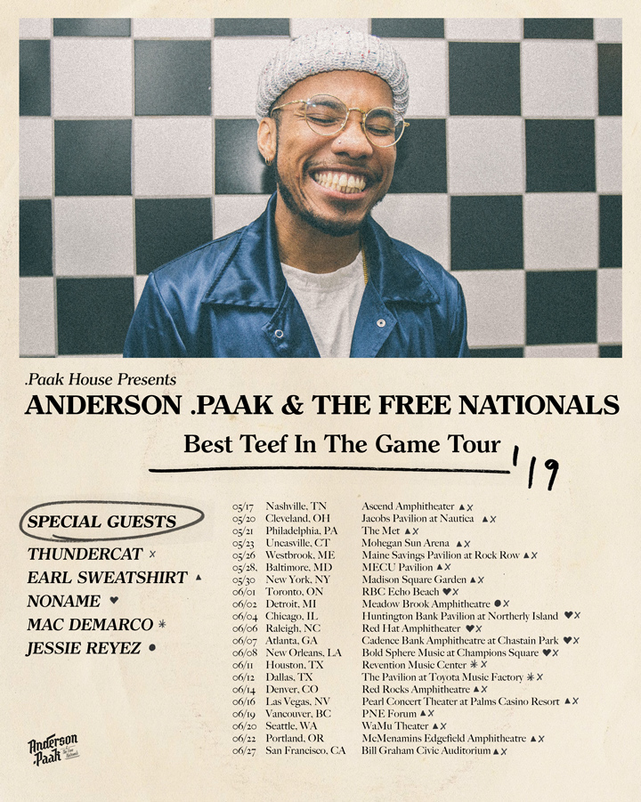 Anderson Paak Best Teef Tour