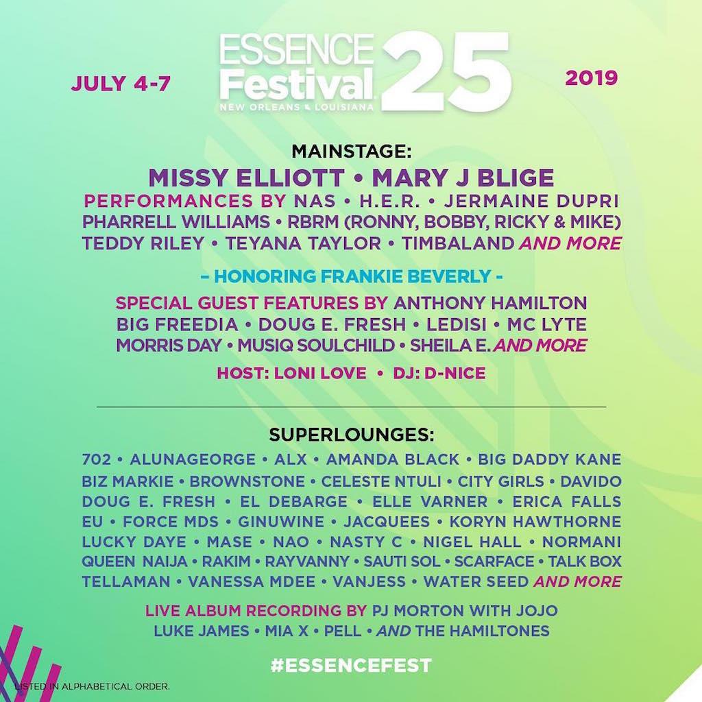 Essence Fest 25 Lineup